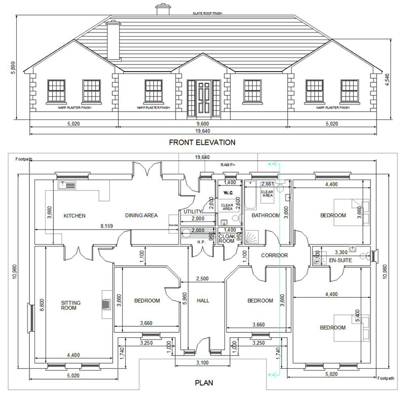 Buy House Plans   Bungalows Storey and a Half Two Storey   A    House A
