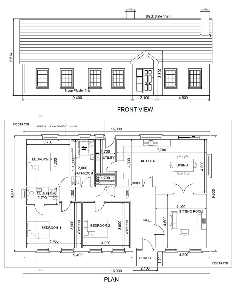 Mean work complete garage extension plans bungalow for House extension drawings