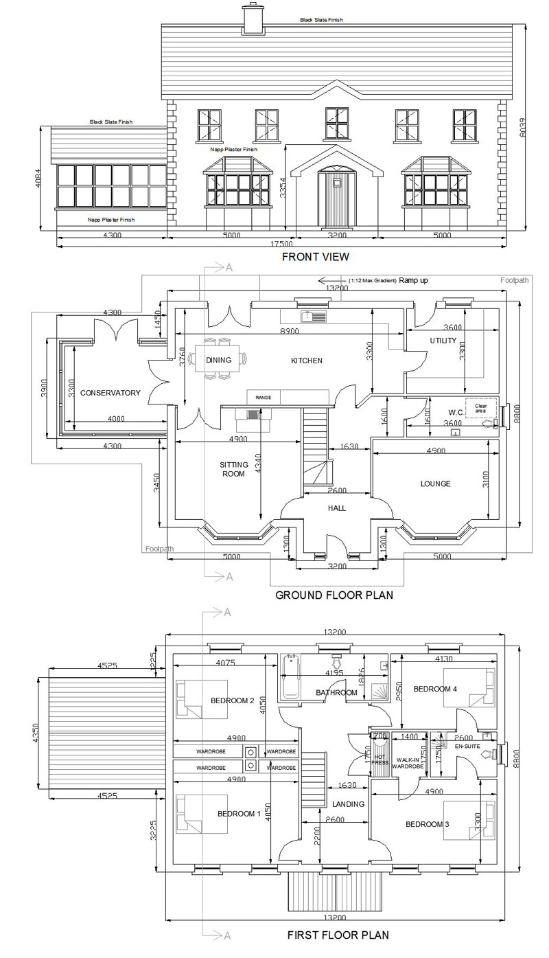 buy house plans bungalows storey and a half two storey 305c once your order is received your plans will be posted to your address in 2 weeks all prices include vat delivery